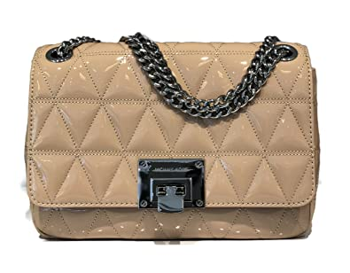 273a3b2aa284 MICHAEL Michael Kors Vivianne Quilted Patent Leather Large Shoulder Flap Bag  - Oyster  Handbags  Amazon.com