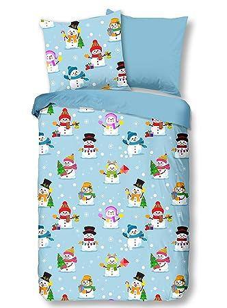 Aminata Kids Kinder Biber Bettwäsche 135 X 200 Cm Schnee Mann