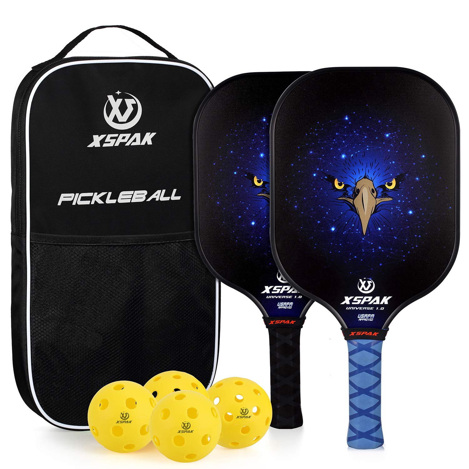 XS XSPAK Pickleball Paddle Set of 2, Graphite Honeycomb Composite Core Paddle Sets Including Racket Bag, 2 Indoor Balls and 2 Outdoor Balls, USAPA Approved by XS XSPAK