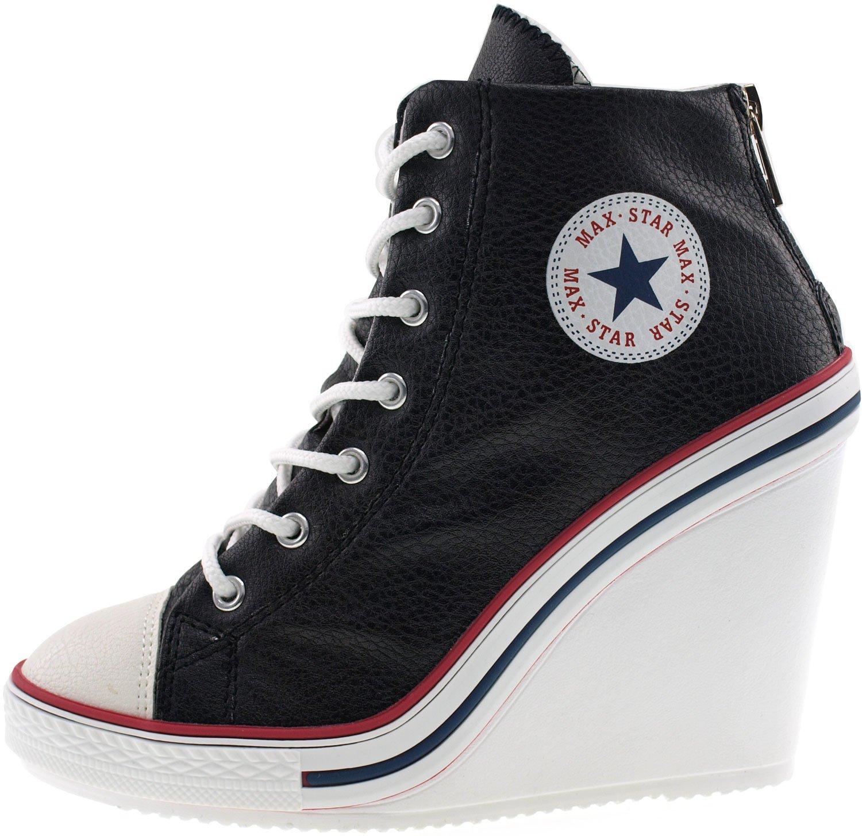 826fd9668e65 ... Maxstar Women s 777 Back Zipper PU High Wedge Wedge Wedge Heel Sneakers  B00CMYYKN0 7.5 B( ...