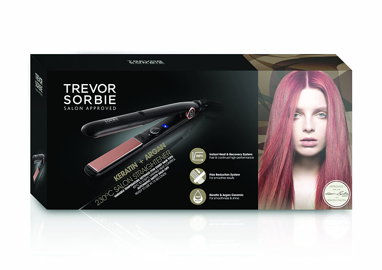 Trevor Sorbie 230C Keratin Plus Argan Salon Straightener Review package