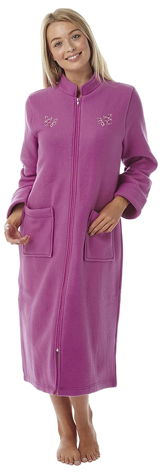 Ladies Boucle Fleece Dressing Gown Buttoned OR Zipped Full Length ...