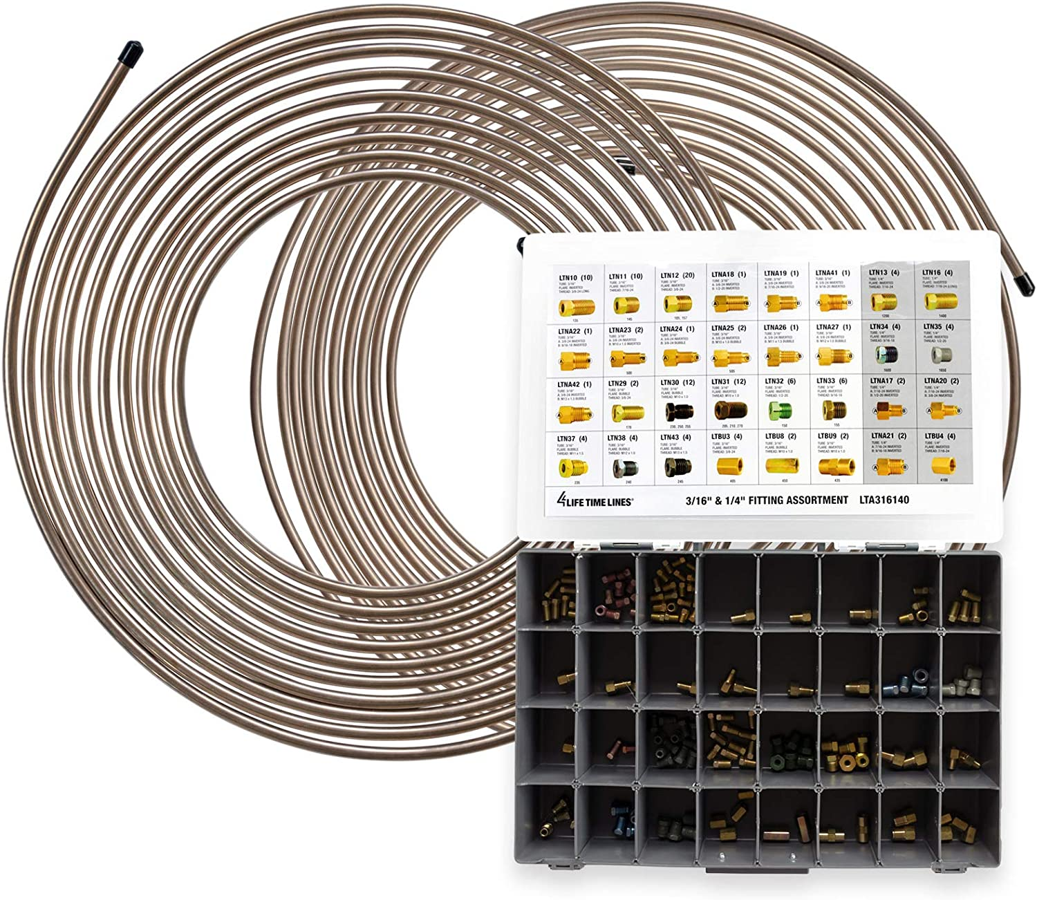 25ft 4LIFETIMELINES Nickel Copper 2 Coils 3//16 and 1//4 32 SKU Fitting Assortment