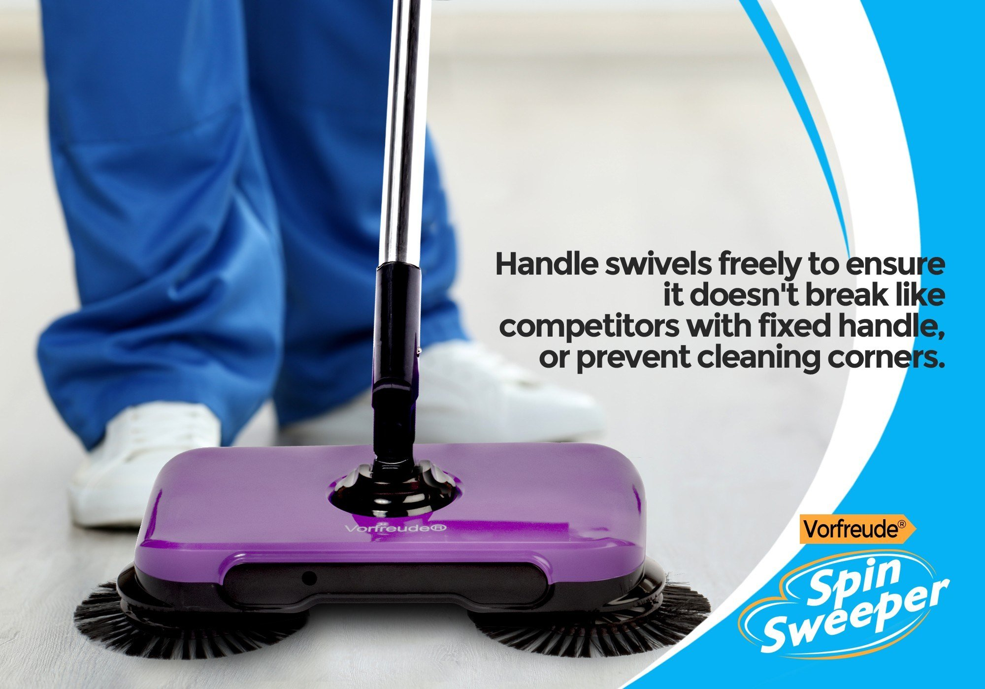 Vorfreude Pro Spin Sweeper Automatic Hand Push Broom – Cordless Stick Vacuum Manual Triple Brush Rotary Floor Spinbrush - Reusable Cleaning Dust Pan Pad - 360 Swivel Rotating Handle - 900 ml Bin