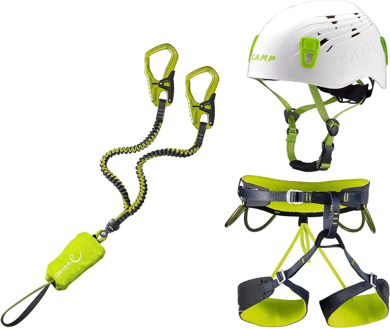 EDELRID vía ferrata Set Cable Comfort 5.0 + Correa de Escalada Camp tamaño m + Casco Camp Titan White 54 – 62 cm