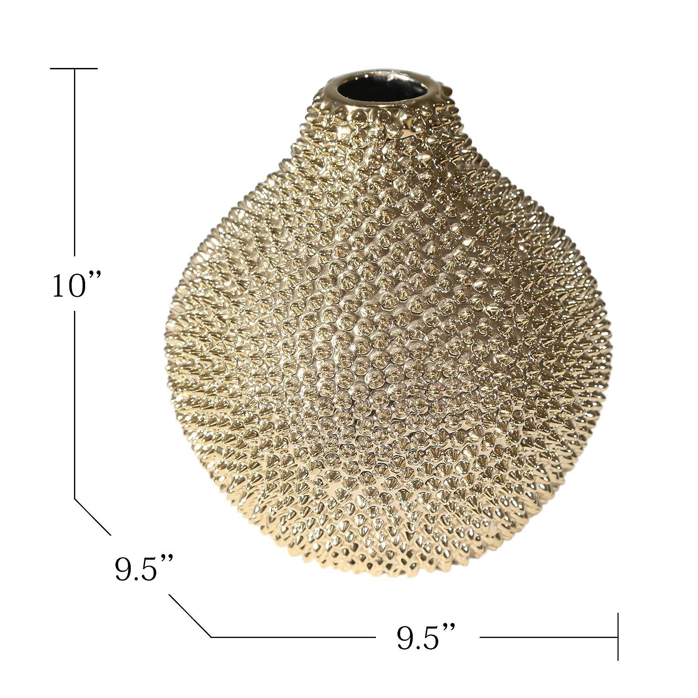 8.75 x 8.75 x 12.25 Inches Sagebrook Home 10740 Decorative Ceramic Vase Gold Ceramic