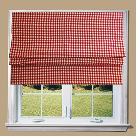 Red Gingham Lined Roman Blind With Fittings (5ft)