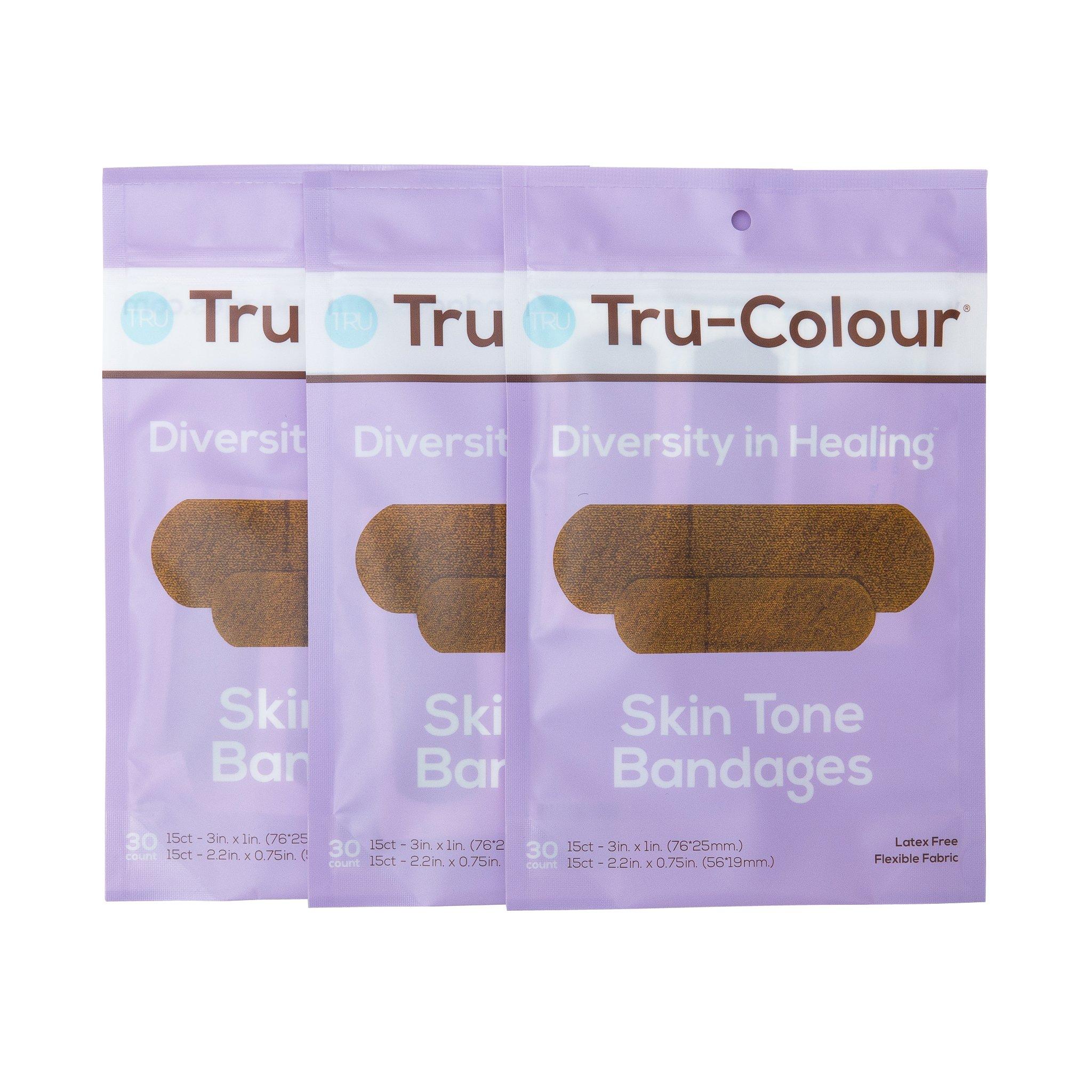 Tru-Colour Bandages Skin Tone Flexible Fabric Bandages (Purple Bag) - 3 Pack (90 Count)