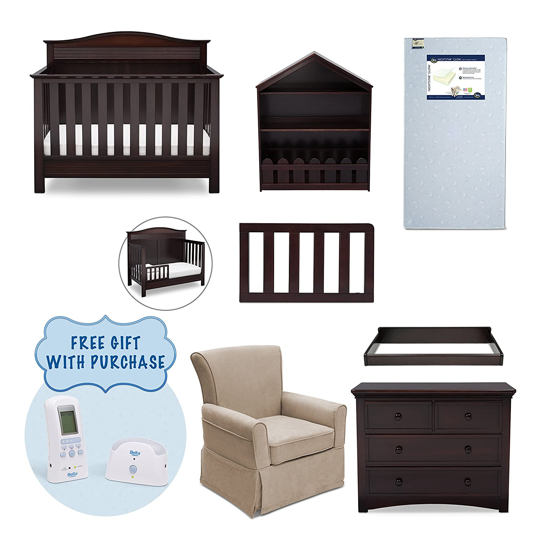 Amazon.com : Serta Barrett 7 Piece Nursery Furniture Set With FREE Digital  Monitor (ships Separately) (Convertible Crib, Toddler Rail, Dresser,  Changing Top ...