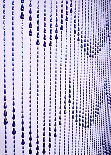 3FTx9FT Waterfall Raindrops Blue Iridescent Doorway Beaded Curtain Wall Panel Window Room Divider Blind