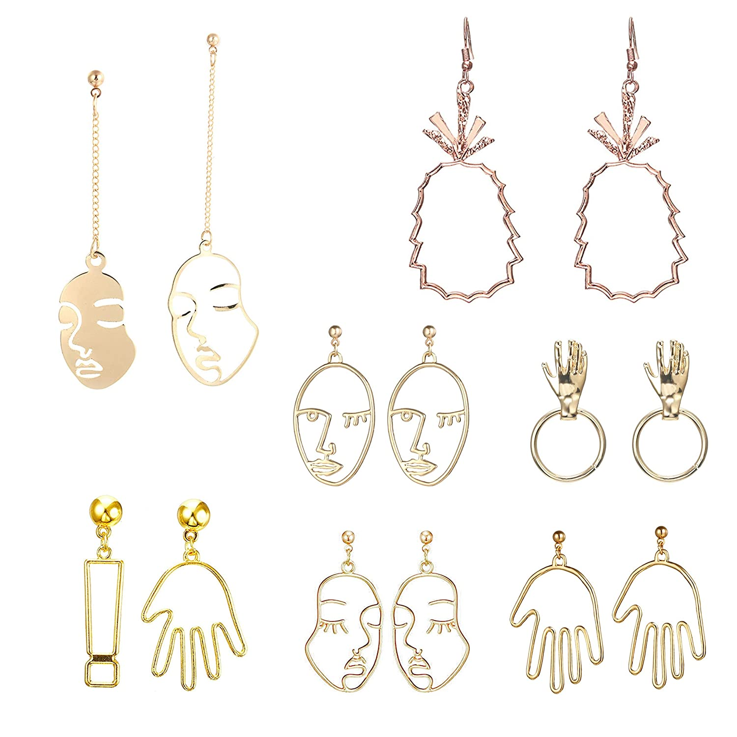 Deroaty Human Face Dangle Set of 7 Pairs Drop Earrings Geometric Vintage Dangling Human Hand Earrings Nice Gifts for Women Lady Teens Girls Brand 7 Pairs//Set