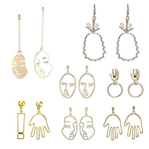 Deroaty Human Face Dangle Set Of 7 Pairs Drop Earrings Skull Head Geometric Vintage Dangling Human Hand Earrings Nice Gifts For Women Lady Teens Girls Brand by Deroaty