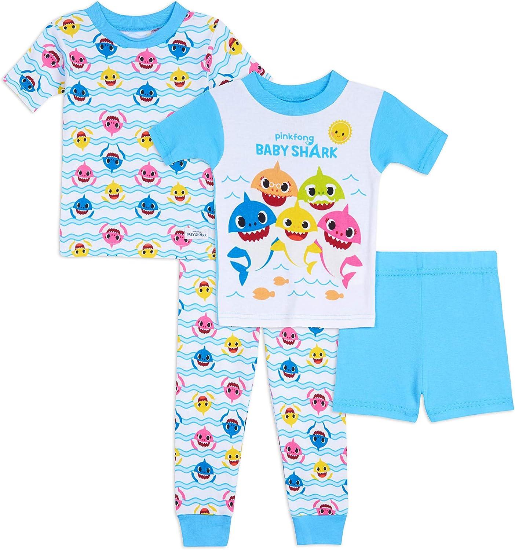 Baby Shark Boys' 4-Piece Cotton Pajama Set