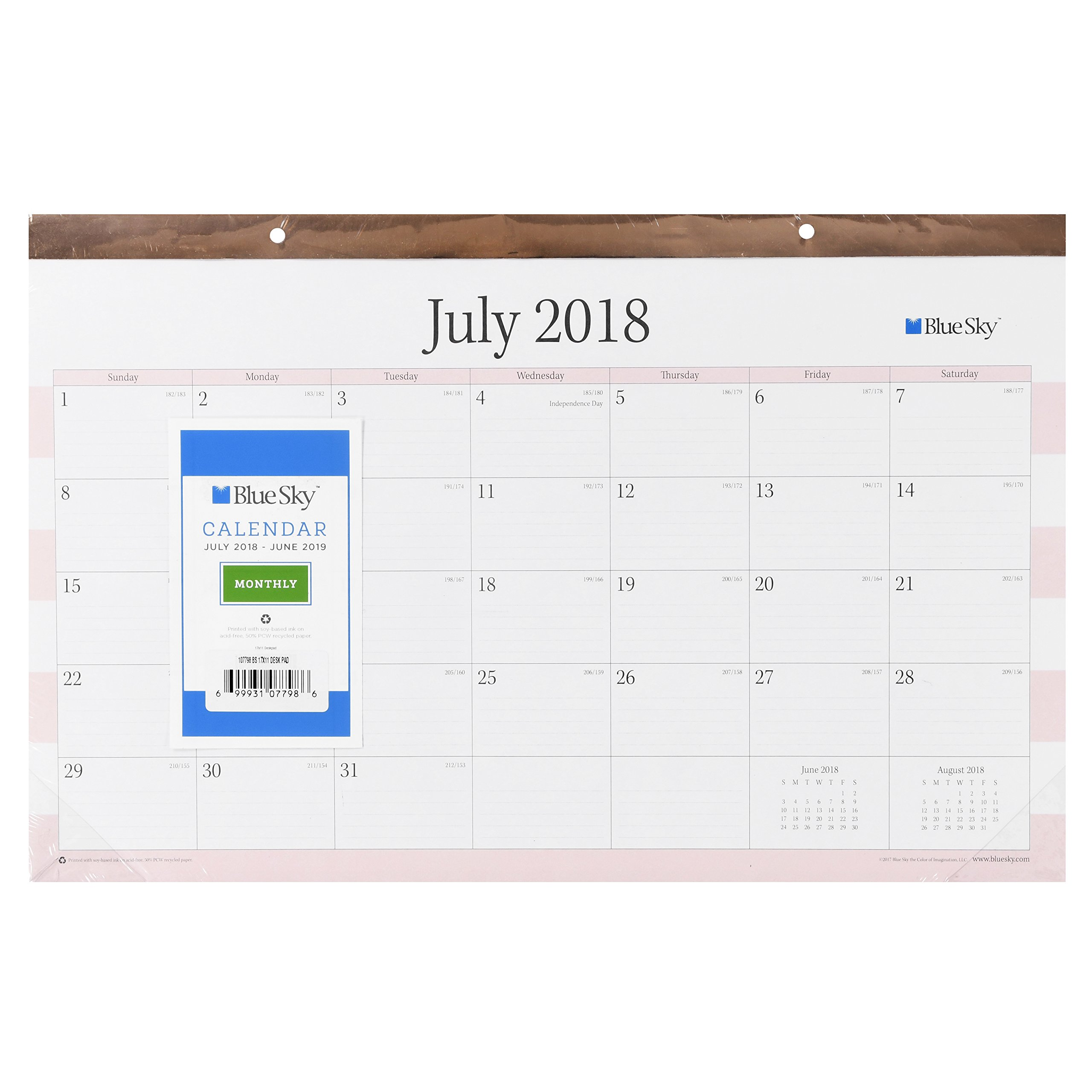Blue Sky 17'' x 11'' Desk Pad Calendar, July 2018-June 2019 (Beautique Gold Rose)