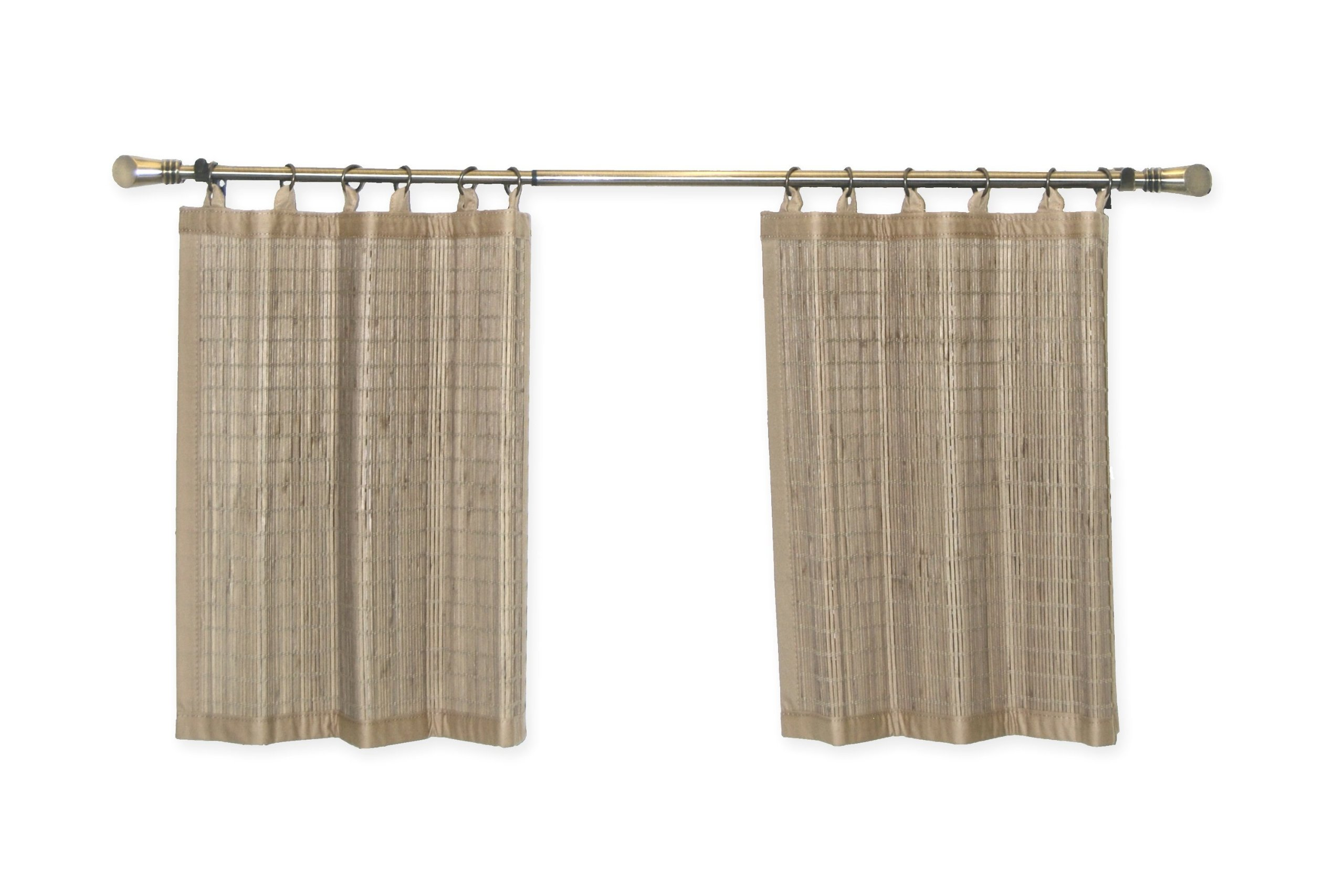 Bamboo Ring Top Curtain BRP05 2-Piece Ring Top Tier Set, 48 by 24-Inch, Driftwood by Bamboo (Image #2)