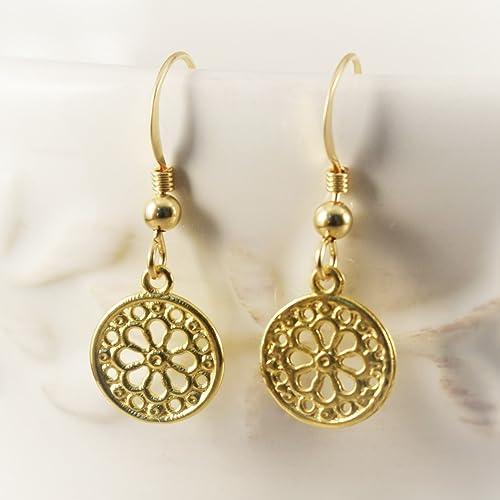 d3a0a7a11ffbb Amazon.com: Flower Earrings for her, gold flower earrings gift, gold ...