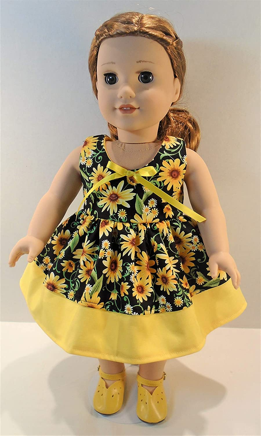 Sunflowers on Black Sun Dress handmade by Jane Ellen to fit 18 inch dolls 18 Inch Doll Clothes