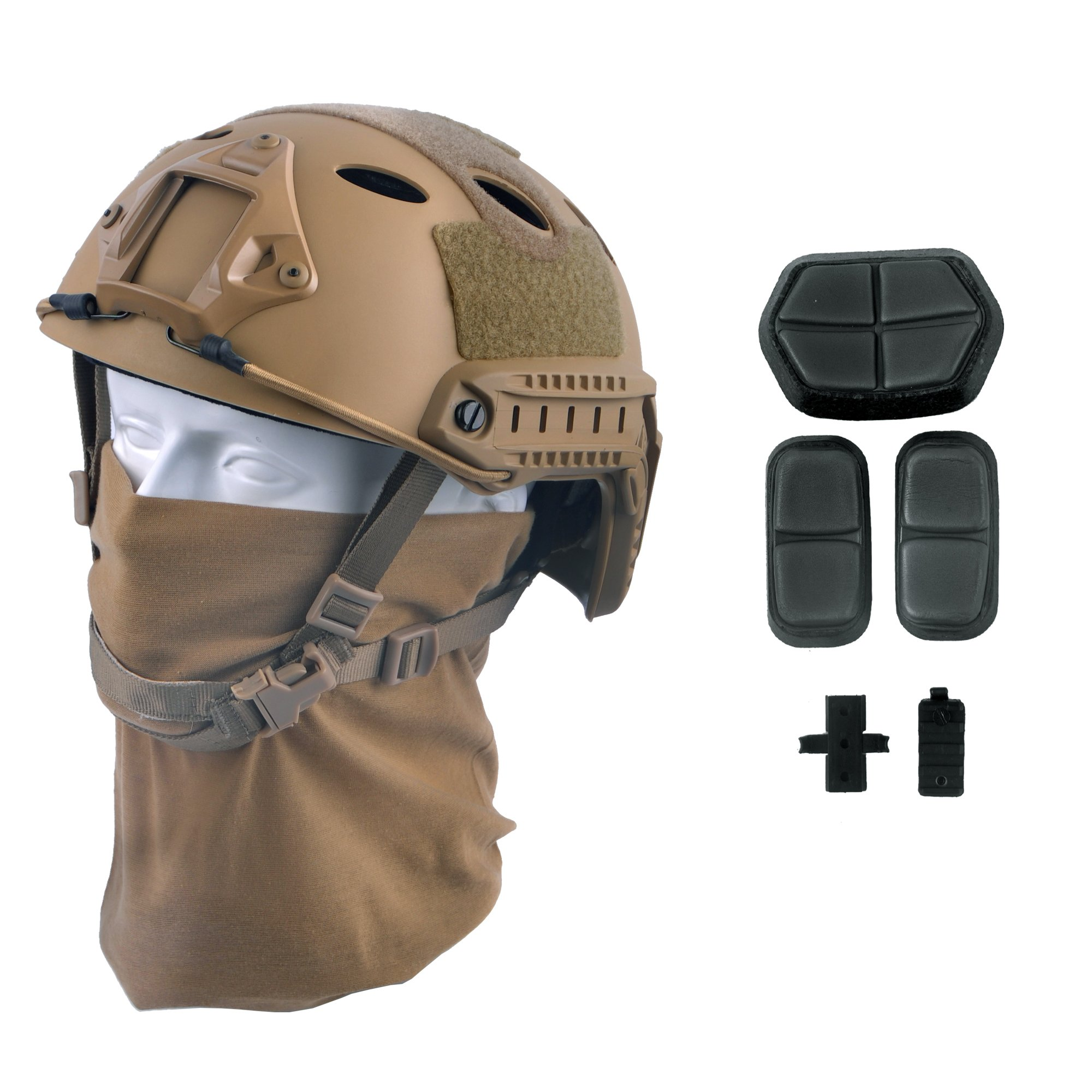 LOOGU Fast PJ Base Jump Military Helmet with 12-in-1 Headwear(TN) by LOOGU