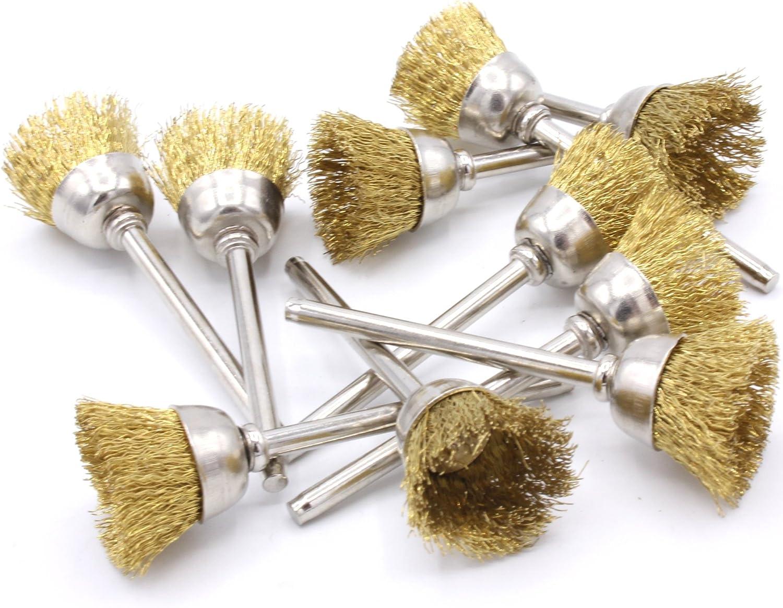 15 mm Pour mini meuleuse Dremel Proxxon Lot de 10 brosses rondes en laiton