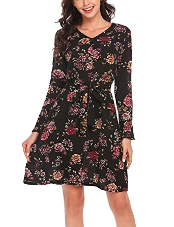 Elegante Damen Farbe Gürtel Festliche Langarm Casualkleid Meaneor Drucken Kleider Partykleid Mit Slim Hit Printkleider Bunte Blumen cR3Sjq5AL4