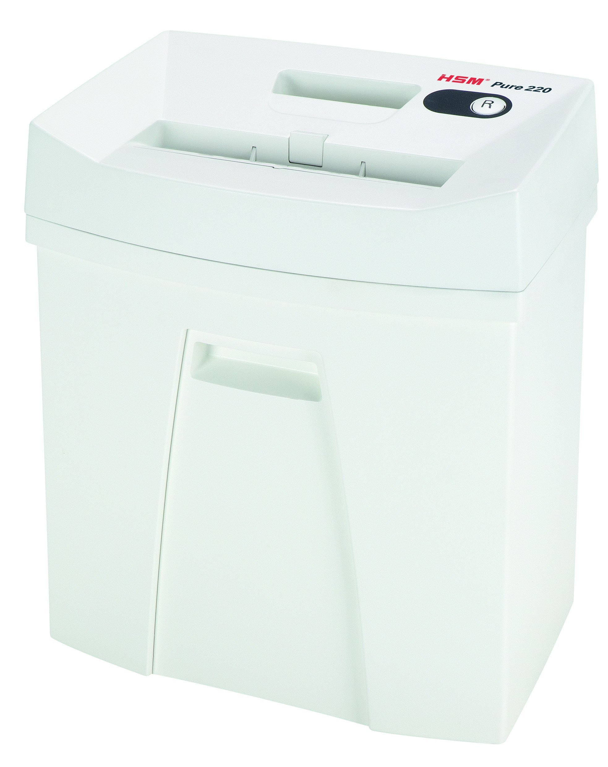 HSM Pure 220 Strip-Cut Shredder; shreds up to 15 sheets; 5.3-gallon capacity