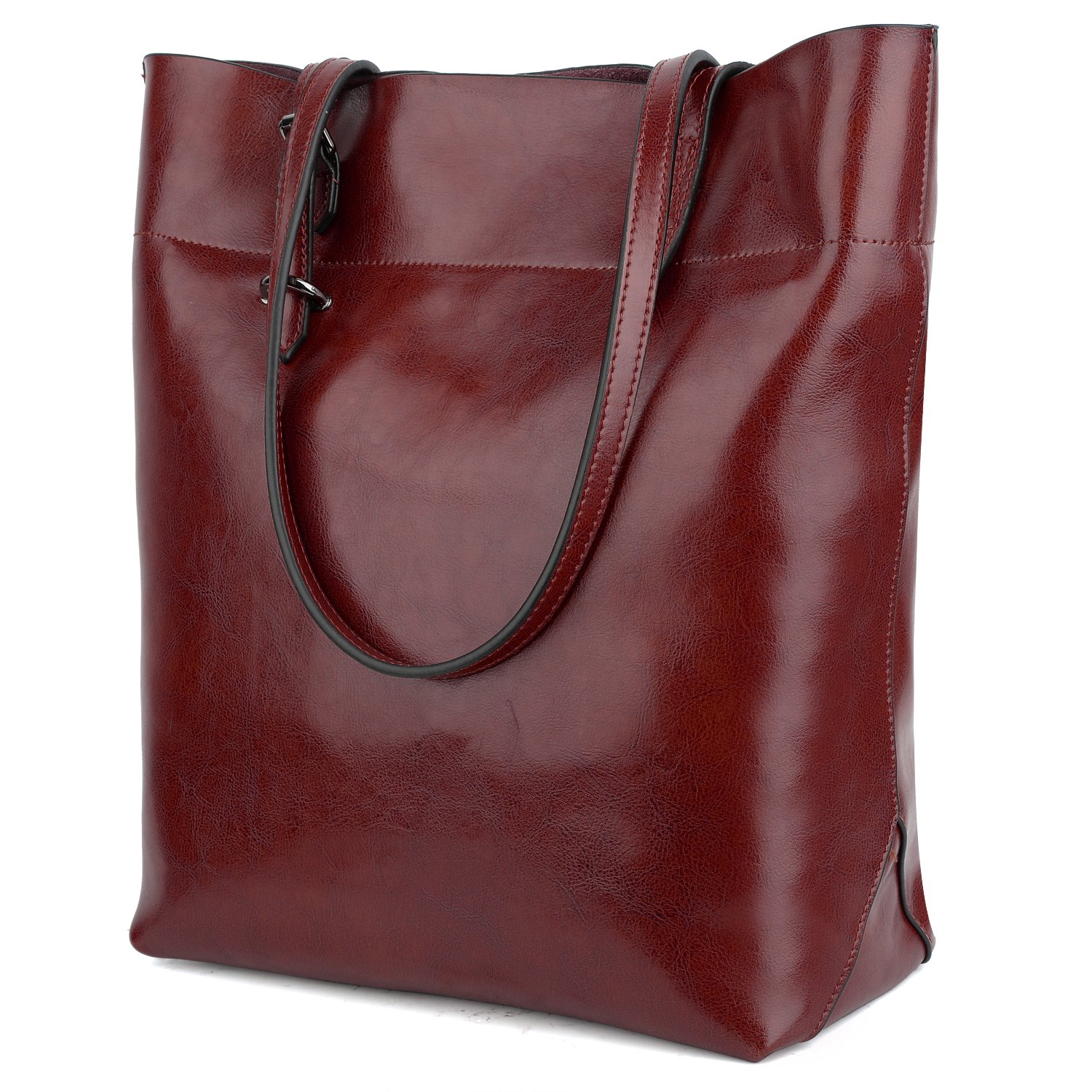 YALUXE Women's Soft Leather Work Tote Shoulder Bag (Upgraded 2.0) Wine Red