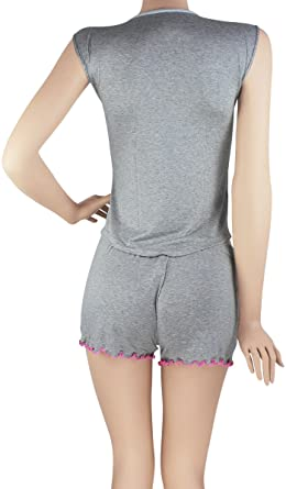 Hipnys Sleepwear SHC3 Pajama Short Sleeveless PJ Sets for Women Ladies Nightwear at Amazon Womens Clothing store: