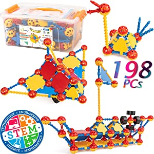 cossy STEM Learning Toy Engineering Construction Building Blocks 198 Pieces Kids Educational Toy for Boys and Girls Ages 3 4 5 6 7 8 9 Year Old (198 Pcs)