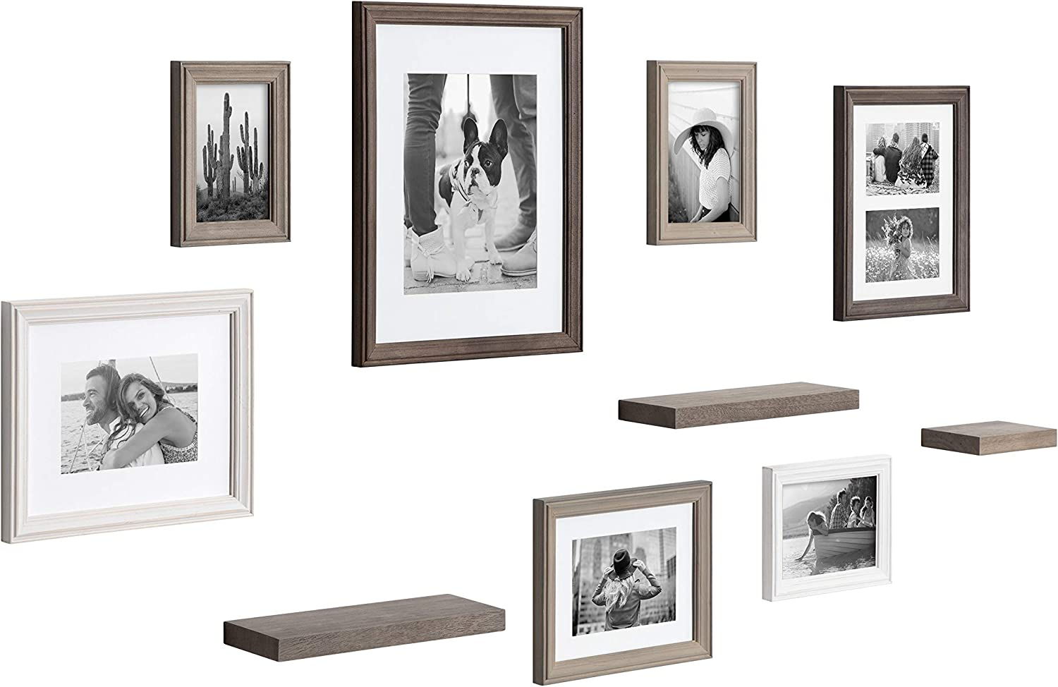 Kate and Laurel Bordeaux Gallery Wall Frame and Shelf Kit, Set of 10, Multicolored with Whitewash, Charcoal Gray, and Farmhouse Gray, Assorted Size Frames and Three Display Shelves