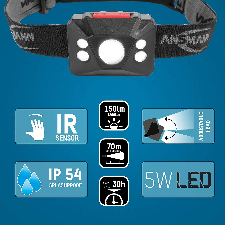 Rotatable on 90 degree hinge 1.8W LED with 150 lumens brightness ANSMANN Future Range Head Light 15 hour operating time Headlight Torch lightweight