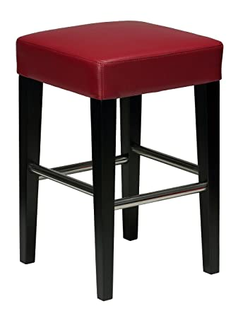 Remarkable Cortesi Home Denver Red Counter Stool In Genuine Leather With Black Legs Short Links Chair Design For Home Short Linksinfo