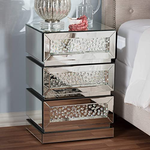 Baxton Studio Hollywood Regency Glamour Style Mirrored 3-Drawer Nightstand