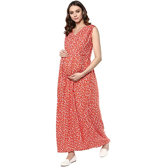 dc2fc89214 Mine4Nine Women s Orange Floral Maxi Maternity Dress  Amazon.in ...