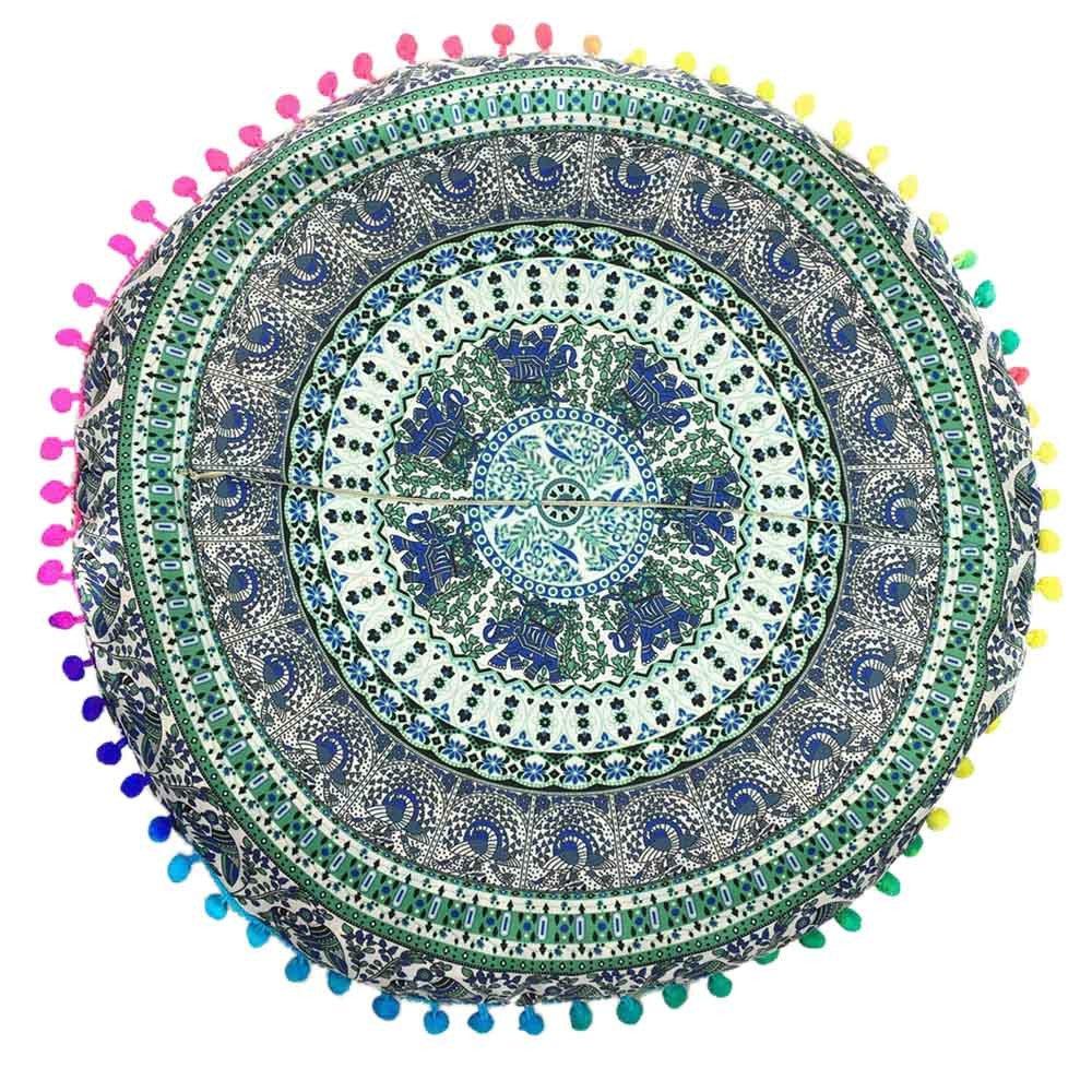 Zainafacai Large Mandala Floor Pillow Meditation Cushion Seating& Yoga Throw Cover Hippie Decorative Bohemian Boho Indian Pouf Ottoman (Blue, One Size)