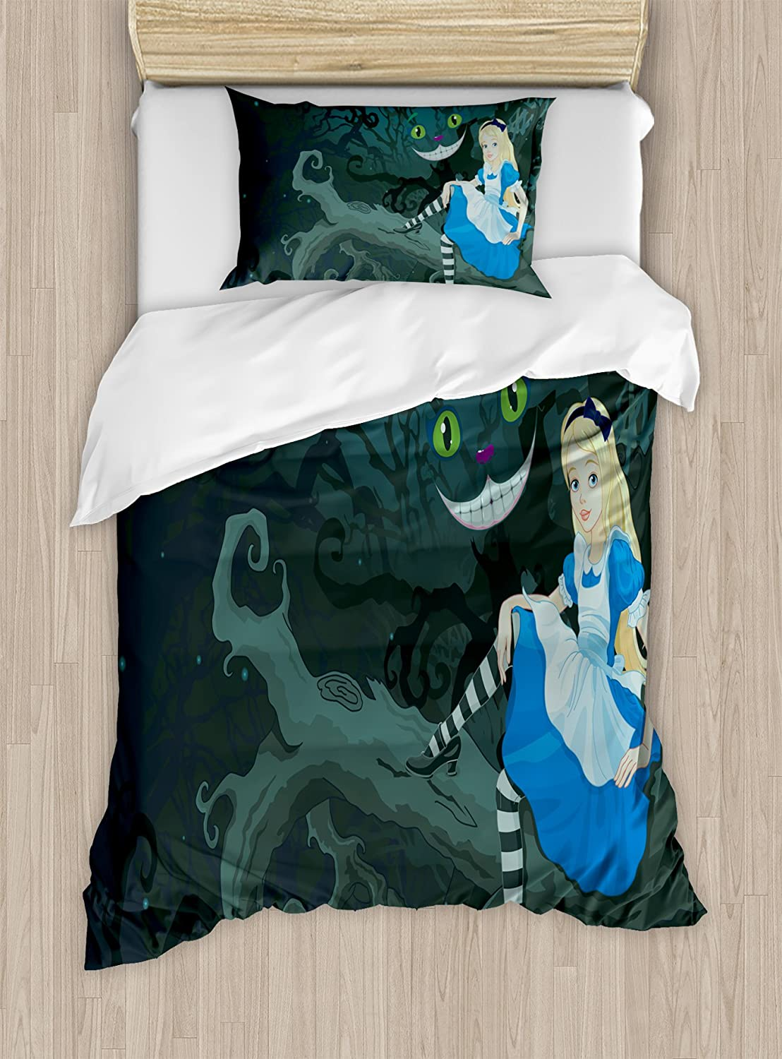 Ambesonne Alice in Wonderland Duvet Cover Set Twin Size, Alice Sitting on Branch and Chescire Cat in Darkness Cartoon Style, Decorative 2 Piece Bedding Set with 1 Pillow Sham, Blue Black