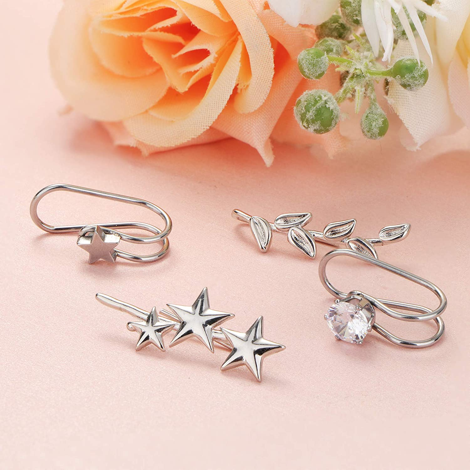 LOYALLOOK 20PCS Ear Cuff for Women Stainless Steel Non-Piercing Ears Helix Cartilage Clip On Wrap Earring Ear Cuff Set for Women Men