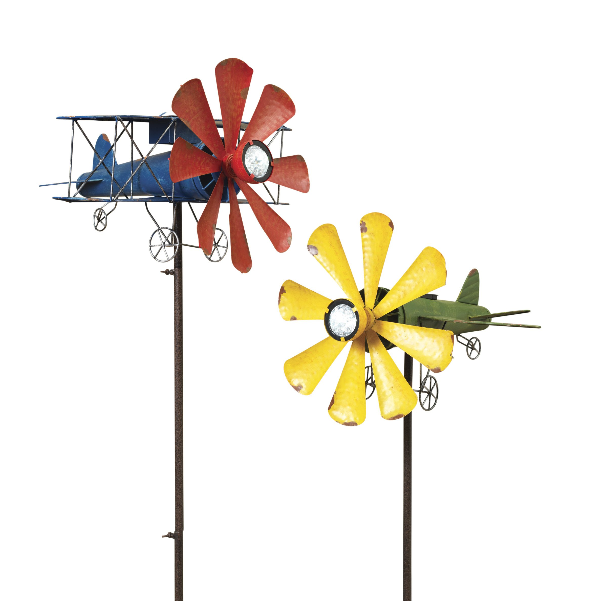 The Gerson Company Garden Accent Solar Powered Airplane Wind Spinner Pack of Two, 2 Piece