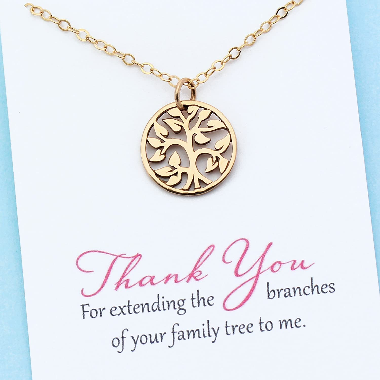 Unbiological Mom Jewelry Personalized Gift for Mother In Law Stepmom Foster Mother 14k Gold Filled Chain Family Tree Necklace