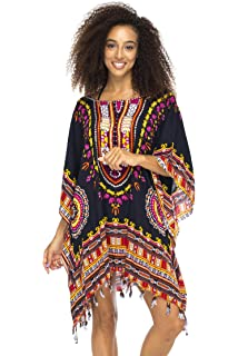d42b02774d Back From Bali Womens Short Swimsuit Beach Cover Up Sequins African Patterns