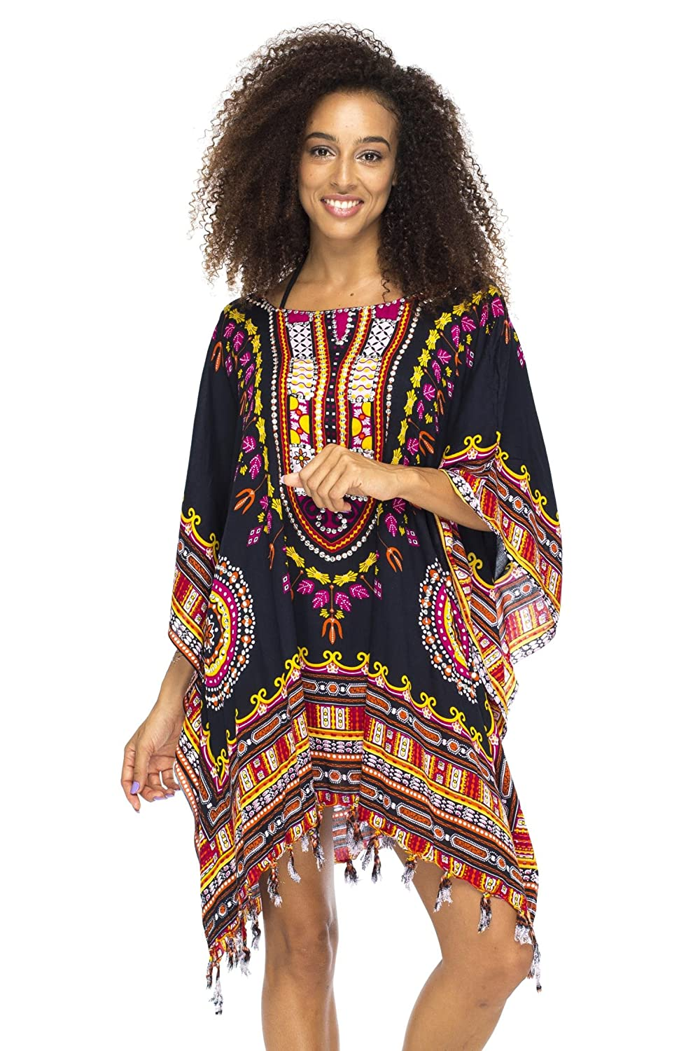 63235531f8 Bright African colors in a vibrant tribal print give this Long Caftan Bathing  Suit Cover Up a calypso boho vibe; perfect at the beach or pool