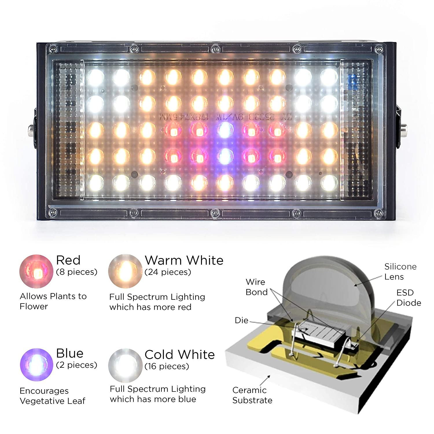 ECRU LED Grow Light Panel – 150W Equivalent Grow Lights with Natural Full Spectrum LED Light Bulbs for Indoor Plant Vegetation and Flowering – LED Indoor Grow Light