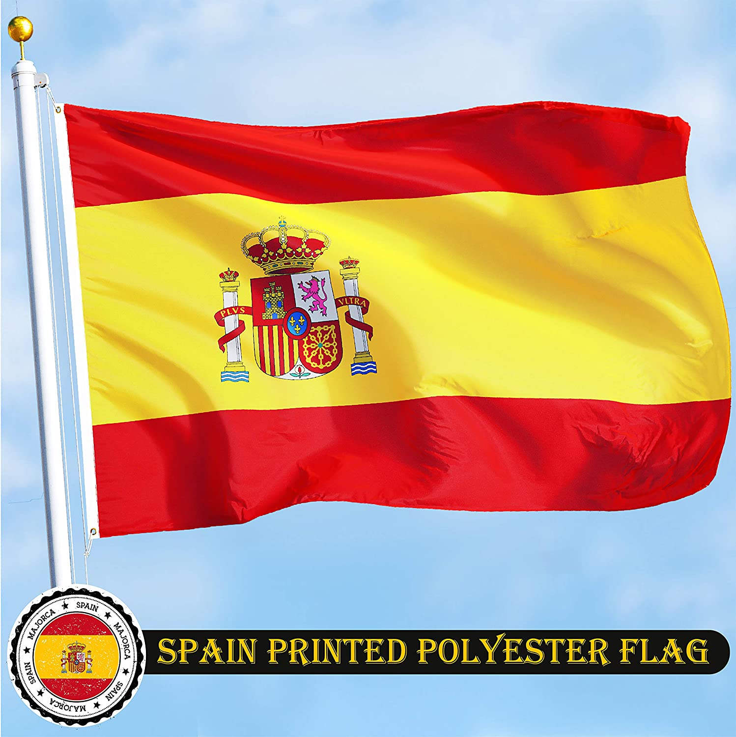 G128 Spain Spanish Flag 3x5 Feet Printed Vibrant Colors Brass Grommets Quality Polyester