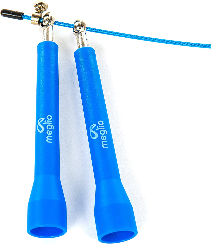 voll verstellbar Fettverbrennung und Boxen meglio Hochwertiges Springseil Speed Rope Skipping Rope f/ür Fitness Workouts