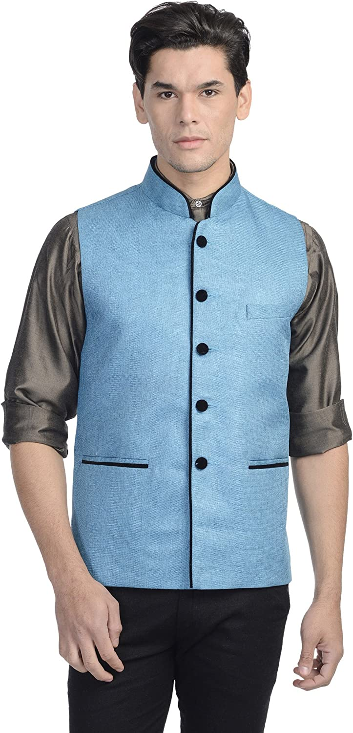 WINTAGE Mens Rayon Festive Nehru Vest Waistcoat 15 Colors
