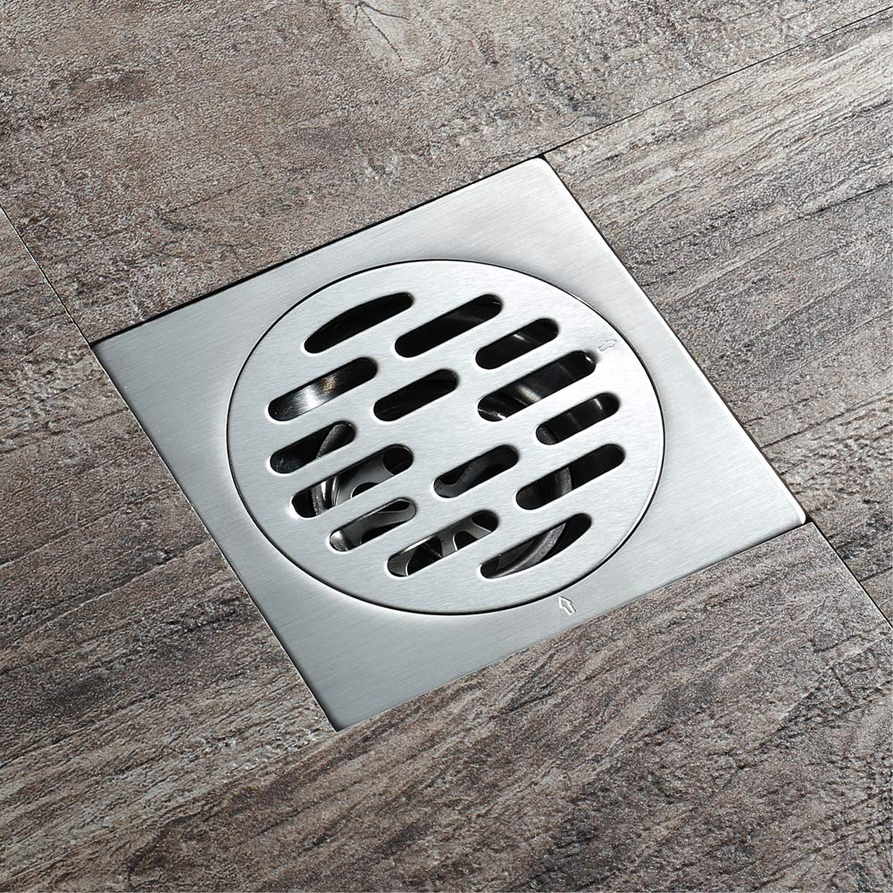 Shower Floor Drain Square Strainer Stainless Steel Modern 4-Inch Floor Drain Insect Proof, Anti-Backwater And Deodorant Floor Drain Anti-Clogging by YJZ (Image #2)