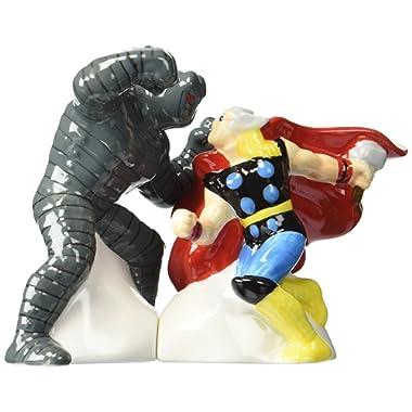 Westland Giftware Magnetic Ceramic Salt and Pepper Shaker Set, The Mighty Thor Vs. Destroyer, Multicolor
