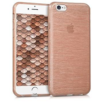 kwmobile Funda para Apple iPhone 6 / 6S - Carcasa de [TPU] para móvil y diseño de Aluminio Cepillado en [Oro Rosa/Transparente]