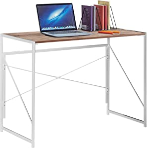 """Writing Computer Desk 39"""" Office Folding Study Desks, Working Desktop for Home, Corner Laptop Gaming Table Metal Frame by Halter (Light Brown)"""