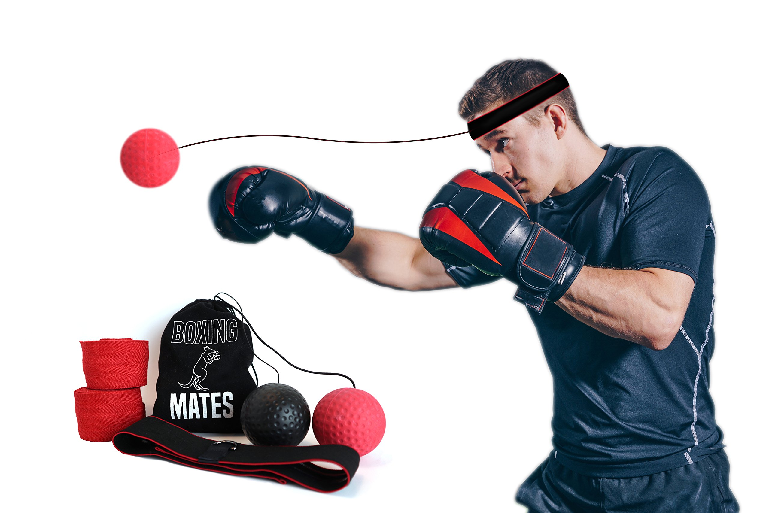 Boxing Mates Boxing Reflex Ball to Improve Hand Eye Coordination with Non-Slip Headband, Adjustable String, Two Training Balls, Hand Wraps, and Travel Pouch by Boxing Mates
