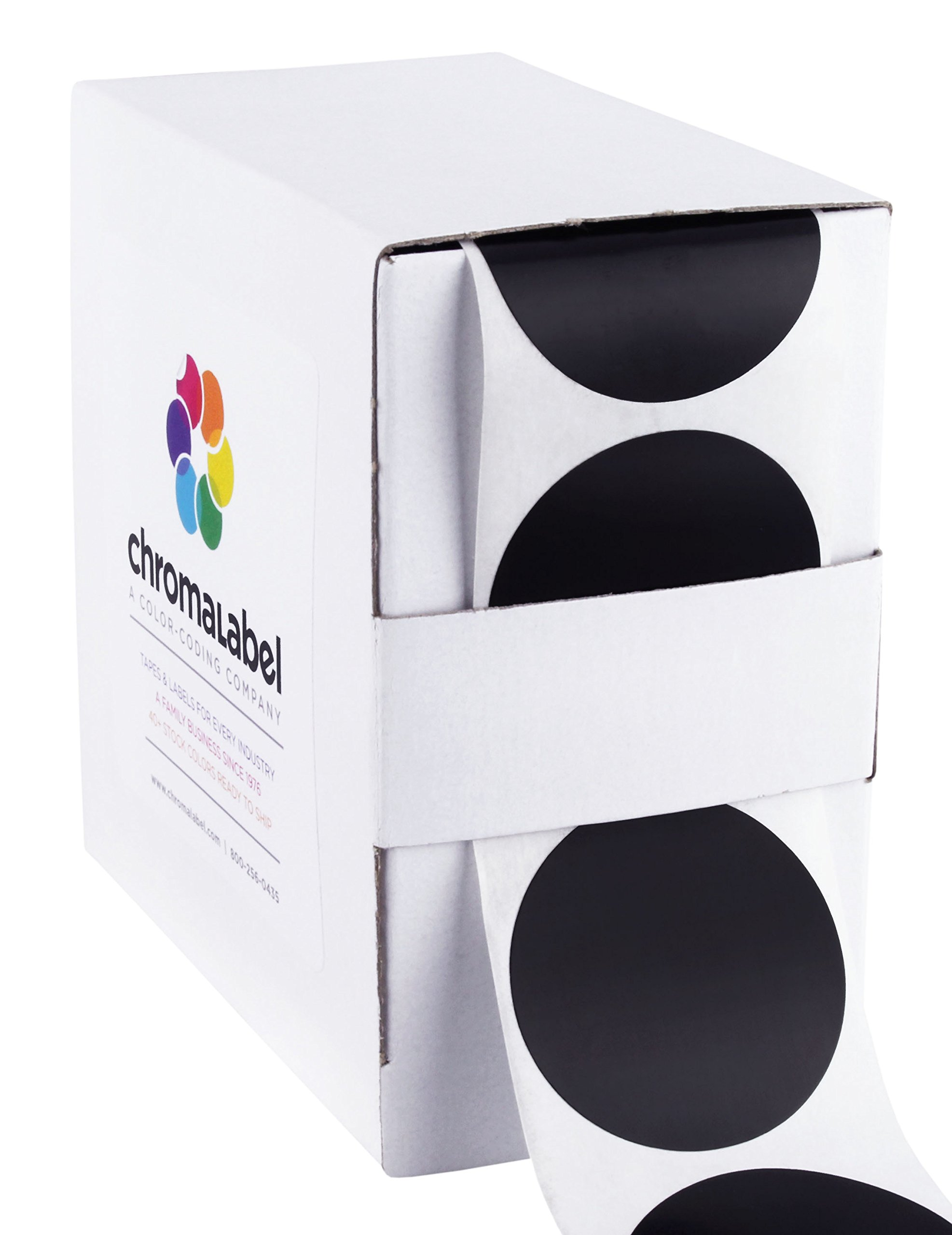 ChromaLabel 1-1/2 inch Color-Code Dot Labels | 500/Dispenser Box (Black)